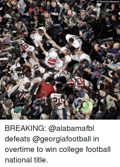 College, College Football, and Football: AP Photo/John Bazemore  MAYDE BREAKING: @alabamafbl defeats @georgiafootball in overtime to win college football national title.
