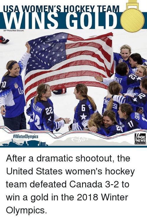 Hockey, Memes, and News: AP Photo/Matt Slocum  GHT  #WinterOlympics  FOX  NEWS After a dramatic shootout, the United States women's hockey team defeated Canada 3-2 to win a gold in the 2018 Winter Olympics.