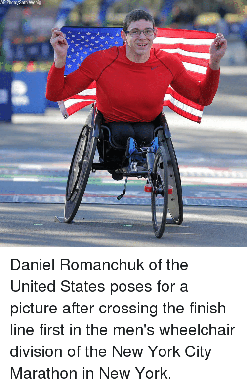 Finish Line: AP Photo/Seth Wenig Daniel Romanchuk of the United States poses for a picture after crossing the finish line first in the men's wheelchair division of the New York City Marathon in New York.