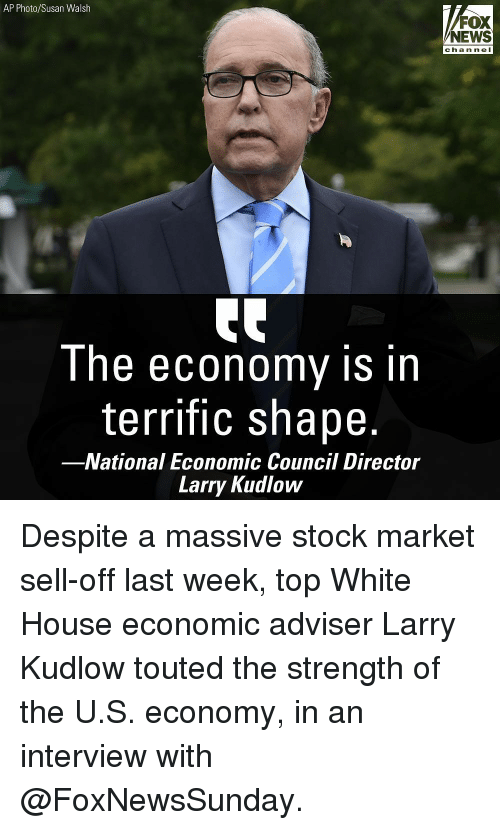 Memes, News, and White House: AP Photo/Susan Walsh  FOX  NEWS  chan ne I  Ihe ecOnomy is in  terrific shape.  -National Economic Council Director  Larry Kudlow Despite a massive stock market sell-off last week, top White House economic adviser Larry Kudlow touted the strength of the U.S. economy, in an interview with @FoxNewsSunday.