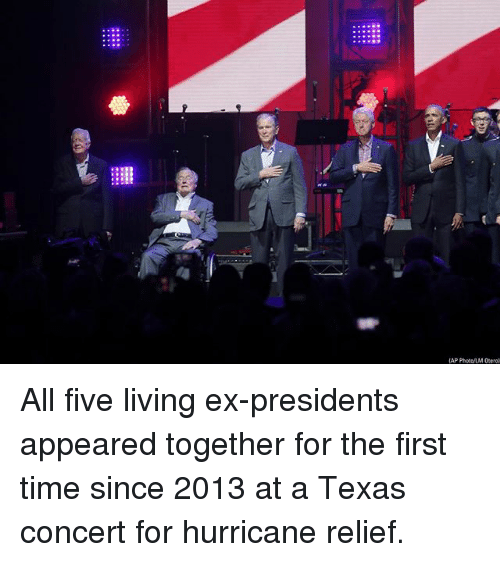 Image result for 5 living presidents hurricane relief