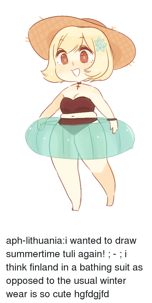 bathing suit: aph-lithuania:i wanted to draw summertime tuli again! ; - ; i think finland in a bathing suit as opposed to the usual winter wear is so cute hgfdgjfd