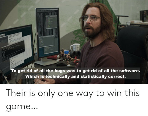 Rid: AplH  To get rid of all the bugs was to get rid of all the software.  Which is technically and statistically correct. Their is only one way to win this game…
