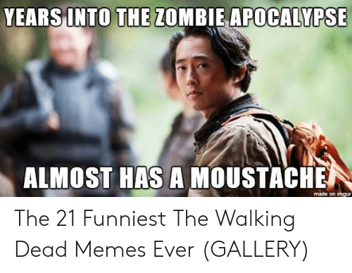 the walking dead memes: APOCALYPSE  YEARS INTO THE Z0MBIE  ALMOST HAS A MOUSTACHE  made on The 21 Funniest The Walking Dead Memes Ever (GALLERY)