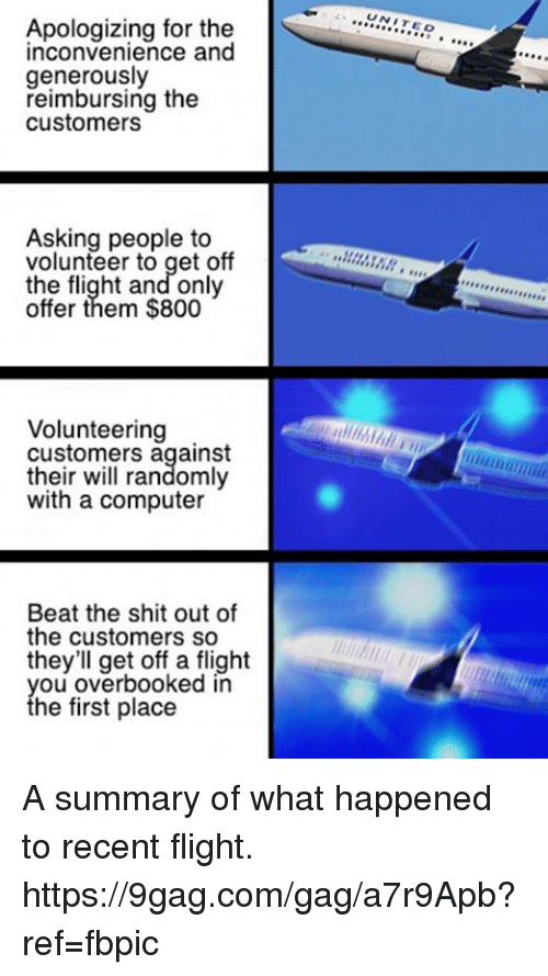 О: Apologizing for the  inconvenience and  generously  reimbursing the  customers  Asking people to  volunteer to get off  the flight and only  offer them $800  Volunteering  customers against  their will randomly  with a computer  Beat the shit out of  the customers so  they'll get off a flight  you overbooked in  the first place  UNIT  EO  A,,,,,,,,,,,, A summary of what happened to recent flight. https://9gag.com/gag/a7r9Apb?ref=fbpic