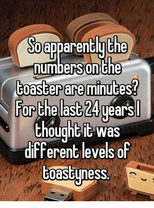 Dank, Thought, and 🤖: apparentlu the  numbers  Sonthe  toaster are minutes?  For the las  ears  thought it was  different levels of  toastyness.