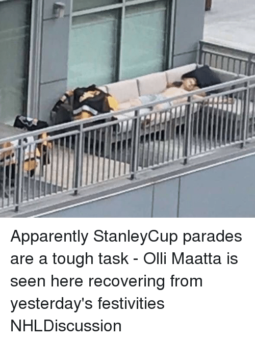 festivities: Apparently StanleyCup parades are a tough task - Olli Maatta is seen here recovering from yesterday's festivities NHLDiscussion