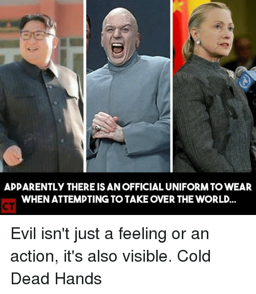 memes: APPARENTLY THERE IS AN OFFICIAL UNIFORM TO WEAR  WHEN ATTEMPTING TO TAKE OVER THE WORLD Evil isn't just a feeling or an action, it's also visible.   Cold Dead Hands