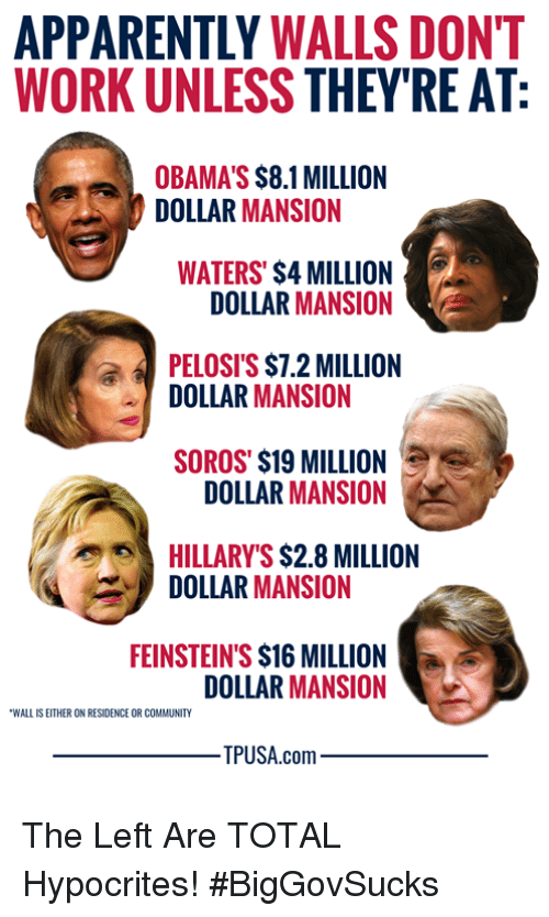 soros: APPARENTLY WALLS DONT  WORK UNLESS THEY'RE AT  OBAMA'S $8.1 MILLION  DOLLAR MANSION  WATERS' $4 MILLION  DOLLAR MANSION  PELOSI'S $7.2 MILLION  DOLLAR MANSION  SOROS' $19 MILLION  DOLLAR MANSION  HILLARY'S $2.8 MILLION  DOLLAR MANSION  FEINSTEIN'S $16 MILLION  DOLLAR MANSION  WALL IS EITHER ON RESIDENCE OR COMMUNITY  PUSA.com The Left Are TOTAL Hypocrites! #BigGovSucks