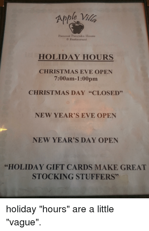 Apple famous pancake house restaurant holiday hours for What restaurants are open on christmas eve