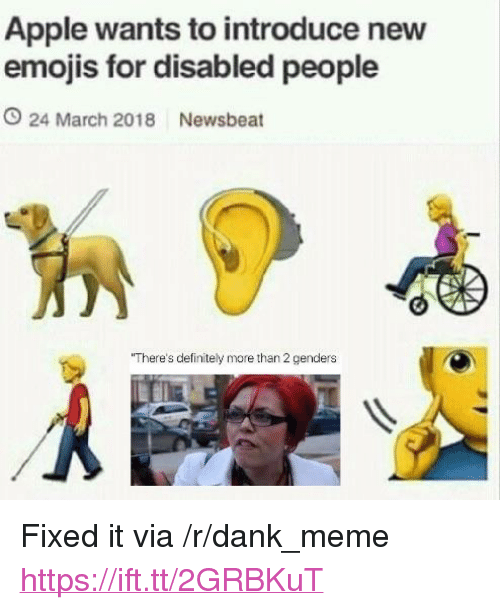 """Apple, Dank, and Definitely: Apple wants to introduce nevw  emojis for disabled people  O 24 March 2018 Newsbeat  There's definitely more than 2 genders <p>Fixed it via /r/dank_meme <a href=""""https://ift.tt/2GRBKuT"""">https://ift.tt/2GRBKuT</a></p>"""