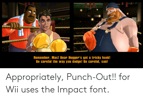 Impact Font: Appropriately, Punch-Out!! for Wii uses the Impact font.