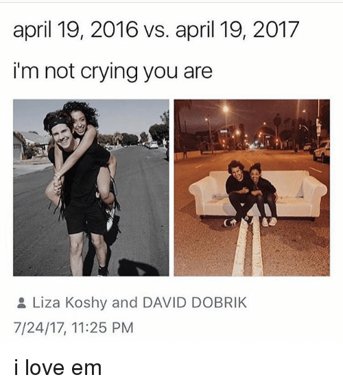 Crying, Love, and Memes: april 19, 2016 vs. april 19, 2017  i'm not crying you are  Liza Koshy and DAVID DOBRIK  7/24/17, 11:25 PM i love em