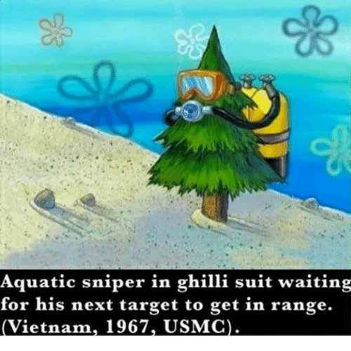 SIZZLE: Aquatic sniper in ghilli suit waiting  for his next target to get in range.  (Vietnam, 1967, USMC).