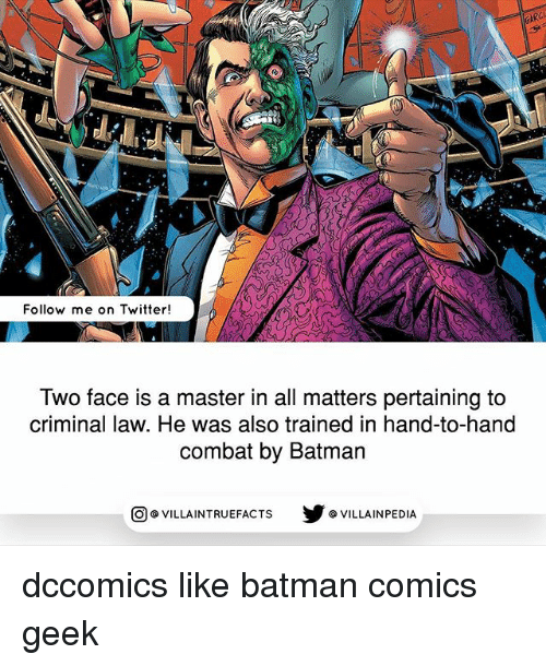 Two-Face: AR  Follow me on Twitter!  Two face is a master in all matters pertaining to  criminal law. He was also trained in hand-to-hand  combat by Batman  回@VILLA IN TRUEFACTS  步@VILLA IN PEDI dccomics like batman comics geek