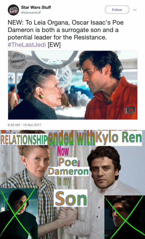 the resistance: AR Star Wars Stuff  S @starwarstuff  WAR  Follow  NEW: To Leia Organa, Oscar lsaac's Poe  Dameron is both a surrogate son and a  potential leader for the Resistance  #TheLastJedi [EWI  Entertainment  CLUS  9:39 AM 19 Nov 2017   RELATIONSHIPended withkylo Ren  Dameron  is m  Son