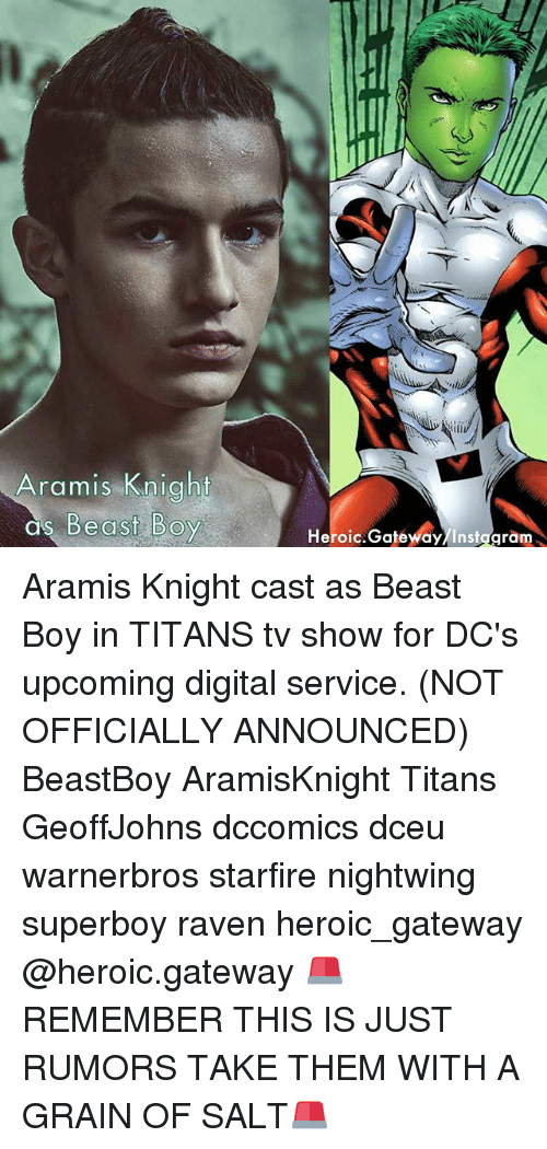 starfire: Aramis Knight  as Be  Heroic.Gatewdy/Instggram Aramis Knight cast as Beast Boy in TITANS tv show for DC's upcoming digital service. (NOT OFFICIALLY ANNOUNCED) BeastBoy AramisKnight Titans GeoffJohns dccomics dceu warnerbros starfire nightwing superboy raven heroic_gateway @heroic.gateway 🚨REMEMBER THIS IS JUST RUMORS TAKE THEM WITH A GRAIN OF SALT🚨