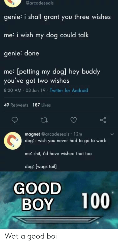 wot: @arcadeseals  genie: i shall grant you three wishes  me:i wish my dog could talk  genie: done  me: [petting my dog] hey buddy  you've got two wishes  8:20 AM 03 Jun 19 Twitter for Android  49 Retweets 187 Likes  magnet @arcadeseals 12m  dog: i wish you never had to go to work  me: shit, i'd have wished that too  dog: [wags tail]  GOOD  BOY  100 Wot a good boi