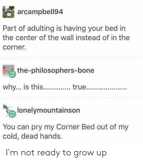 cold-dead-hands: arcampbell94  Part of adulting is having your bed in  the center of the wall instead of in the  corner.  the-philosophers-bone  why... is this..  true...  lonelymountainson  You can pry my Corner Bed out of my  cold, dead hands I'm not ready to grow up