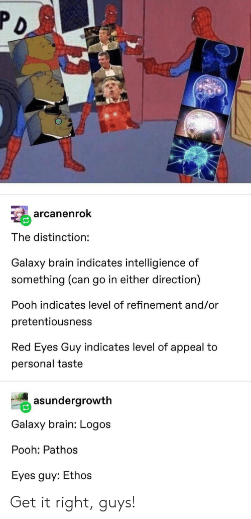 Logos: arcanenrok  The distinction:  Galaxy brain indicates intelligience of  something (can go in either direction)  Pooh indicates level of refinement and/or  pretentiousness  Red Eyes Guy indicates level of appeal to  personal taste  asundergrowth  Galaxy brain: Logos  Pooh: Pathos  Eyes guy: Ethos Get it right, guys!
