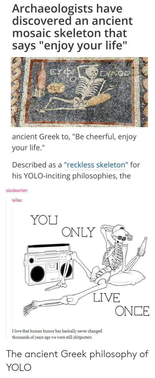 "YOLO: Archaeologists have  discovered an ancient  mosaic skeleton that  says ""enjoy your life""  ancient Greek to, ""Be cheerful, enjoy  your life.""  Described as a ""reckless skeleton"" for  his YOLO-inciting philosophies, the  nicoleartist:  tallsa:  YOLI  ONLY  LIVE  ONCE  I love that human humor has basically never changed  thousands of years ago we were still shitposters The ancient Greek philosophy of YOLO"