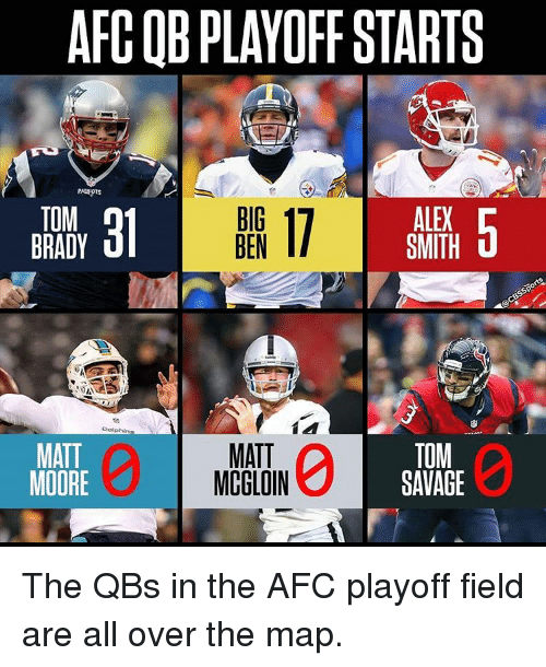 Memes, Tom Brady, and Dolphin: ARCOBPLAYOFF STARTS  31 BEN  17 SMITH  5  TOM  BRADY  Dolphin  MATT  TOM  MATT  MOORE  MCGLOIN  SAVAGE The QBs in the AFC playoff field are all over the map.