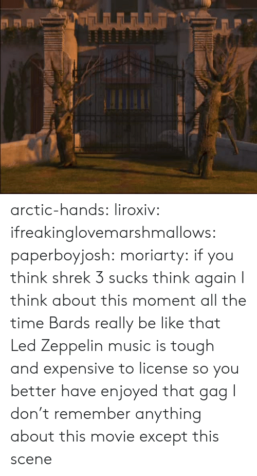 moriarty: arctic-hands:  liroxiv:  ifreakinglovemarshmallows:  paperboyjosh:  moriarty:  if you think shrek 3 sucks think again   I think about this moment all the time   Bards really be like that  Led Zeppelin music is tough and expensive to license so you better have enjoyed that gag   I don't remember anything about this movie except this scene
