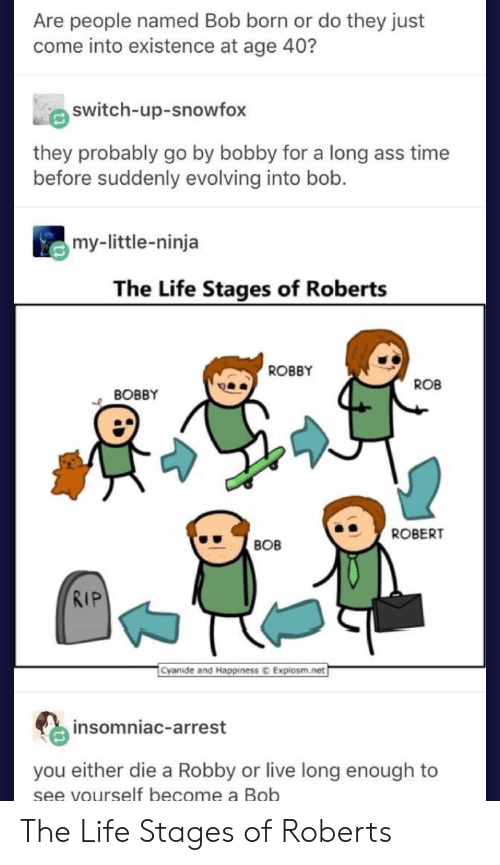 Robby: Are people named Bob born or do they just  come into existence at age 40?  switch-up-snowfox  they probably go by bobby for a long ass time  before suddenly evolving into bob.  my-little-ninja  The Life Stages of Roberts  ROBBY  ROB  BOBBY  ROBERT  BOB  RIP  Cyanide and Happiness  Explosm.net  insomniac-arrest  you either die a Robby or live long enough to  se  e vourself become a Bob The Life Stages of Roberts