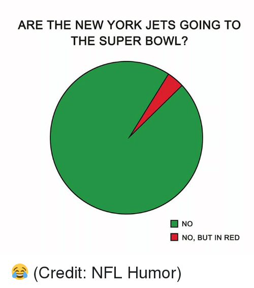 humored: ARE THE NEW YORK JETS GOING TO  THE SUPER BOWL?  ■ NO  NO, BUT IN RED 😂 (Credit: NFL Humor)