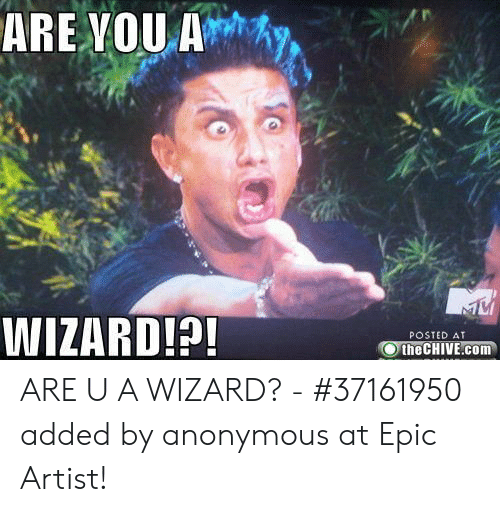 Posted At The Chive: ARE VOU A  Ay  MY  WIZARD!?!  POSTED AT  the CHIVE.com ARE U A WIZARD? - #37161950 added by anonymous at Epic Artist!