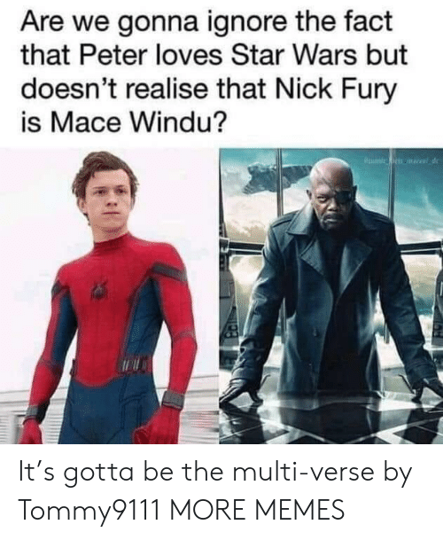 fury: Are we gonna ignore the fact  that Peter loves Star Wars but  doesn't realise that Nick Fury  is Mace Windu? It's gotta be the multi-verse by Tommy9111 MORE MEMES
