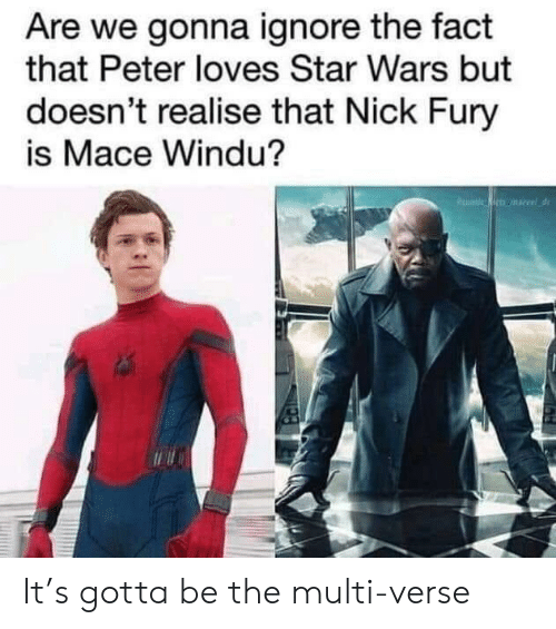 fury: Are we gonna ignore the fact  that Peter loves Star Wars but  doesn't realise that Nick Fury  is Mace Windu? It's gotta be the multi-verse