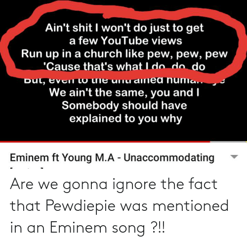 Eminem: Are we gonna ignore the fact that Pewdiepie was mentioned in an Eminem song ?!!