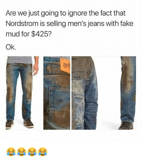 Fake, Nordstrom, and Girl Memes: Are we just going to ignore the fact that  Nordstrom is selling men's jeans with fake  mud for $425?  Ok. 😂😂😂😂
