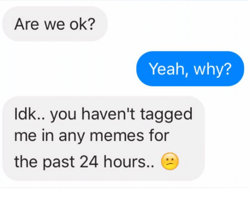 Memes, Yeah, and Tagged: Are we ok?  Yeah, why?  Idk.. you haven't tagged  me in any memes for  the past 24 hours..
