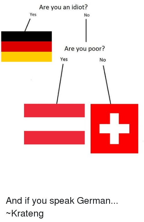 Superior Swiss: Are you an idiot?  Yes  No  Are you poor  Yes  No And if you speak German... ~Krateng