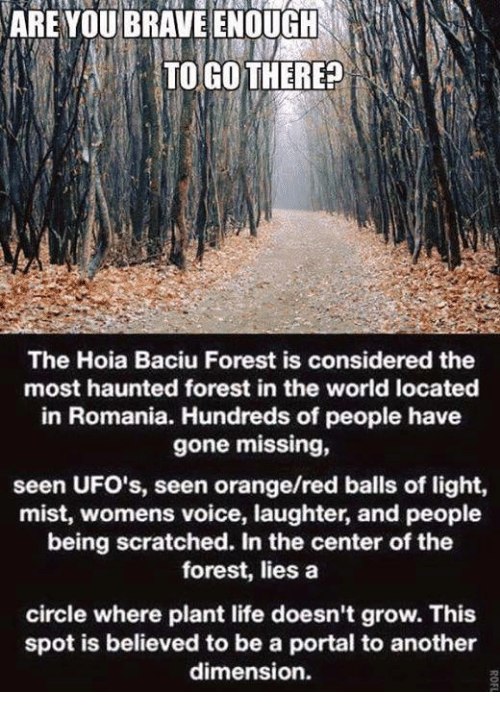 ufo: ARE YOU BRAVE ENOUGH  TO GO THERE?  The Hoia Baciu Forest is considered the  most haunted forest in the world located  in Romania. Hundreds of people have  gone missing,  seen UFO's, seen orange/red balls of light,  mist, womens voice, laughter, and people  being scratched. In the center of the  forest, lies a  circle where plant life doesn't grow. This  spot is believed to be a portal to another  dimension.