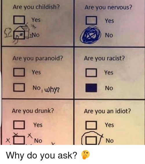 Drunk, Funny, and Racist: Are you childish?  Are you paranoid?  Are you drunk?  Yes  Are you nervous?  Yes  No  Are you racist?  Yes  No  Are you an idiot?  Yes  No Why do you ask? 🤔