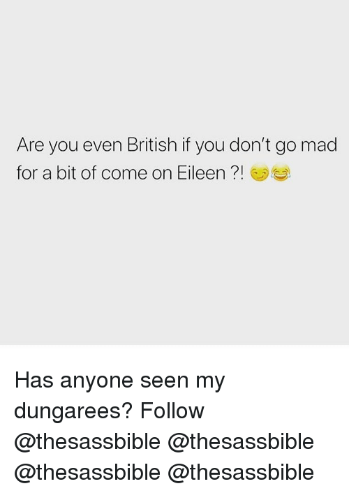 come on eileen: Are you even British if you don't go mad  for a bit of come on Eileen ! Has anyone seen my dungarees? Follow @thesassbible @thesassbible @thesassbible @thesassbible