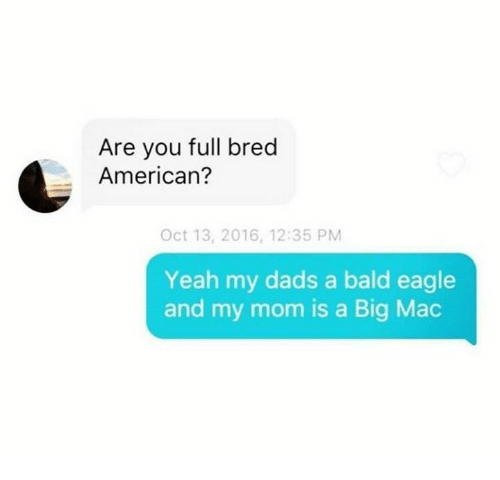 Memes, Yeah, and American: Are you full bred  American?  Oct 13, 2016, 12:35 PM  Yeah my dads a bald eagle  and my mom is a Big Mac