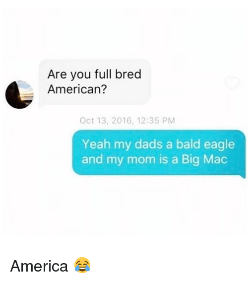 A Big Mac: Are you full bred  American?  Oct 13, 2016, 12:35 PM  Yeah my dads a bald eagle  and my mom is a Big Mac America 😂