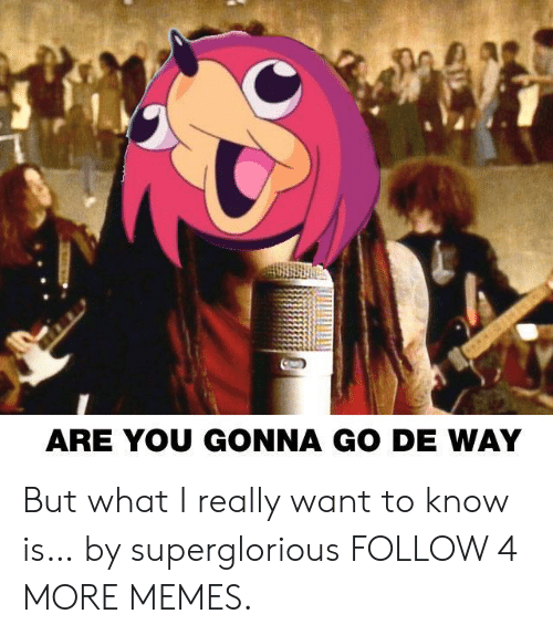 I Really Want To: ARE YOU GONNA GO DE WAY But what I really want to know is… by superglorious FOLLOW 4 MORE MEMES.