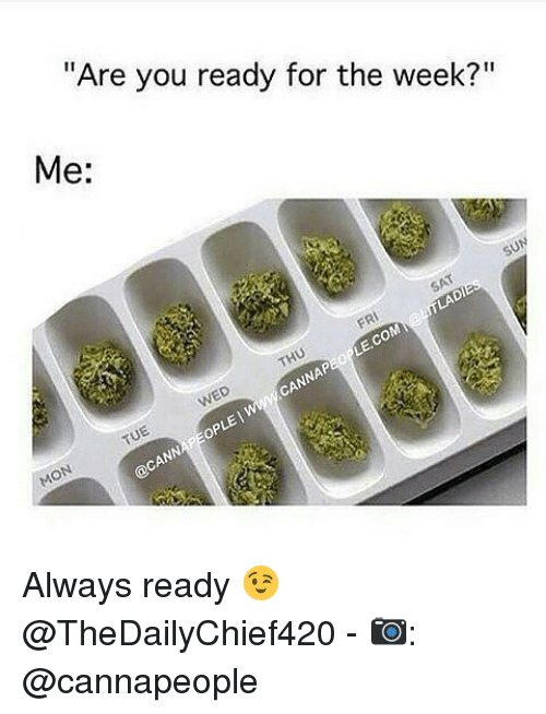 """Opness: """"Are you ready for the week?""""  Me:  op Always ready 😉 @TheDailyChief420 - 📷: @cannapeople"""