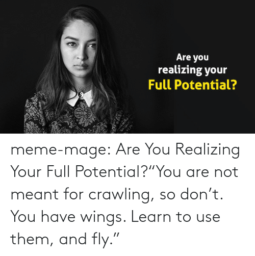 """meme: Are you  realizing your  Full Potential? meme-mage:    Are You Realizing Your Full Potential?""""You are not meant for crawling, so don't. You have wings. Learn to use them, and fly."""""""