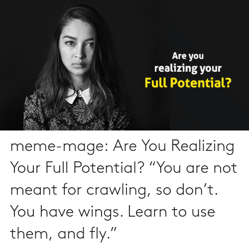 """meme: Are you  realizing your  Full Potential? meme-mage:    Are You Realizing Your Full Potential? """"You are not meant for crawling, so don't. You have wings. Learn to use them, and fly."""""""