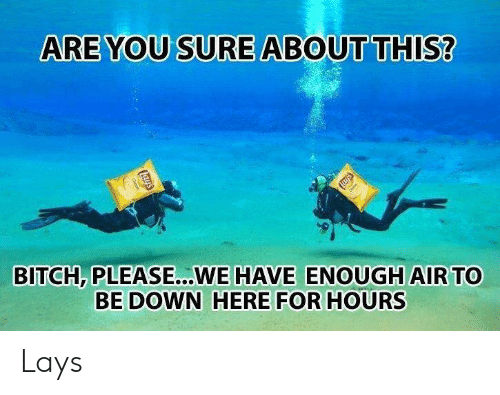 Lay's: ARE YOU SURE ABOUT THIS?  BITCH, PLEASE...WE HAVE ENOUGH AIR TO  BE DOWN HERE FOR HOURS Lays