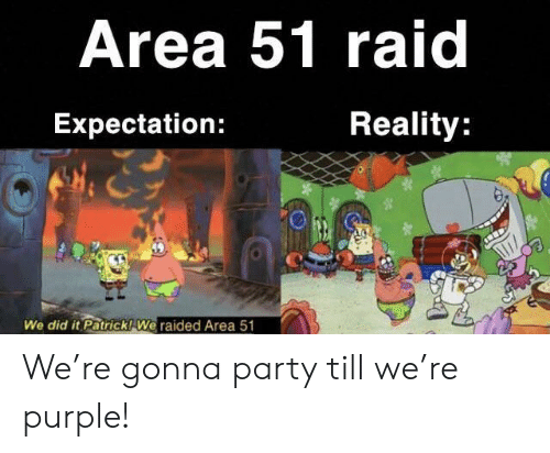 expectation: Area 51 raid  Reality:  Expectation:  We did it Patrick! We raided Area 51 We're gonna party till we're purple!
