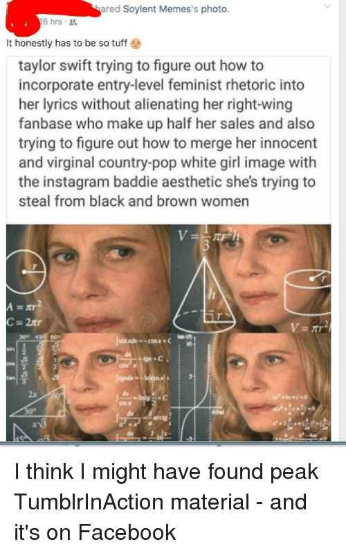Swifting: ared Soylent Memes's photo.  8hrs .  It honestly has to be so tuff  taylor swift trying to figure out how to  incorporate entry-level feminist rhetoric into  her lyrics without alienating her right-wing  fanbase who make up half her sales and also  trying to figure out how to merge her innocent  and virginal country-pop white girl image with  the instagram baddie aesthetic she's trying to  steal from black and brown women  30 4 60  2x