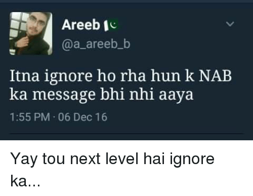 Memes, Huns, and 🤖: Areeb  @a_areeb_b  Itna ignore ho rha hun k NAB  ka message bhi nhi aaya  1:55 PM 06 Dec 16 Yay tou next level hai ignore ka...