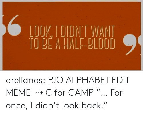 "Didn: arellanos:    PJO ALPHABET EDIT MEME   ⇢ C for CAMP    ""… For once, I didn't look back."""